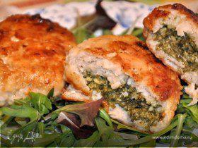 Куриные зразы с творогом и шпинатом