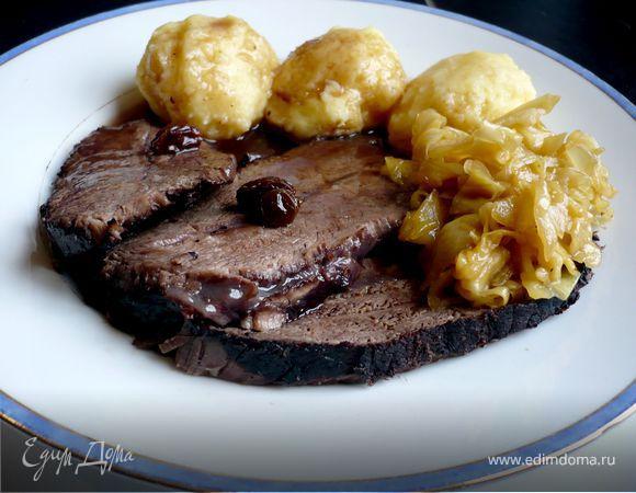 Квашеное жаркое с клецками и глазированной капустой «Мясо моей мечты»