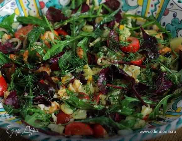 Летний салат с раковыми шейками – кулинарный рецепт