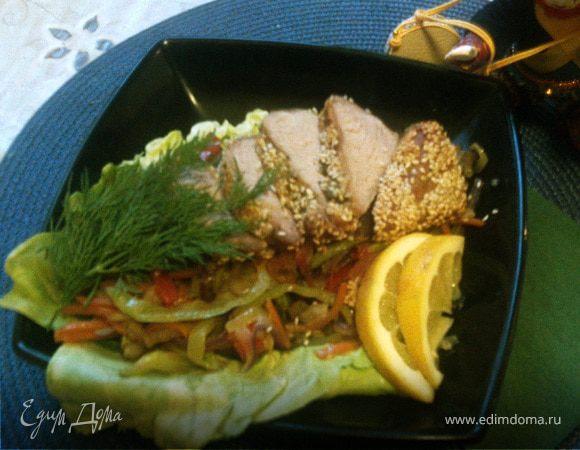 Телятина с овощами жульен