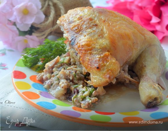 Праздничный цыпленок с оригинальной ореховой начинкой