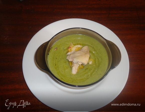 Суп-пюре из зеленого горошка и кукурузы