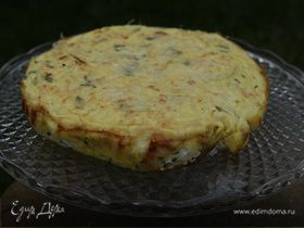 Рисовый пирог с творогом и зеленым луком