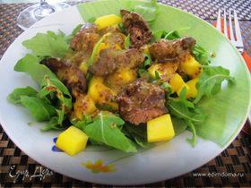 Кисло-сладкий салат с куриной печенью