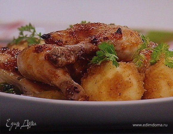 Цыпленок жареный с молодой тушеной капустой и картофельными клесами