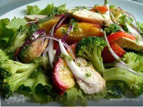 Теплый салат с нектаринами и мятной заправкой