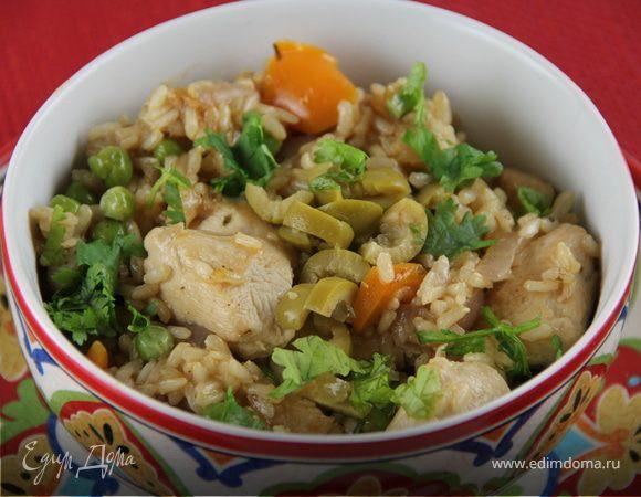 Курица с рисом и овощами по-испански