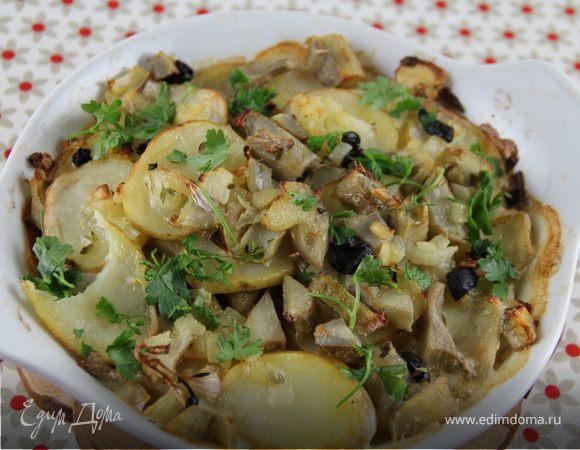 Гратен из картофеля с артишоками и маслинами