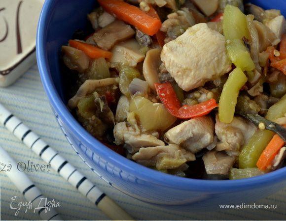 Куриное филе с овощами и грибами в китайском стиле
