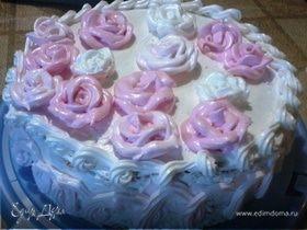 Бисквитный торт с белковым заварным кремом
