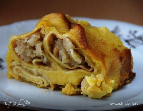 Блинный яблочный пирог со сливочным кремом