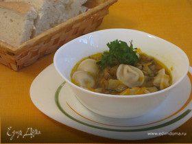 Суп грибной с пельменями