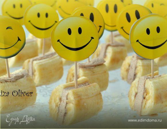 Банановые мини-сэндвичи с творожным кремом