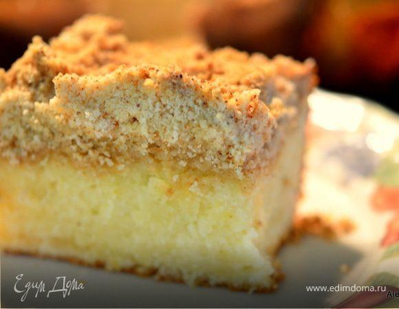 Лимонный кекс с крошкой и лимонным кремом