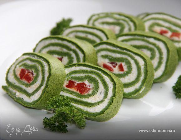 Зеленый рулет с творожной начинкой