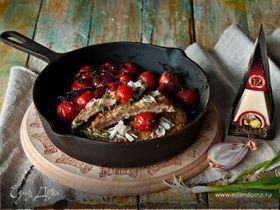 Отбивная из телятины по-милански с запеченными помидорами