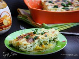 Лазанья с тыквой и шпинатом под соусом из рикотты