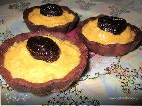 Шоколадные корзинки с тыквенным кремом и черносливом в коньяке