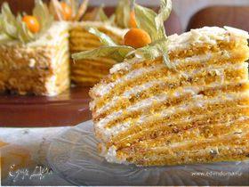 Тыквенный торт с апельсином и орехами под белым шоколадом