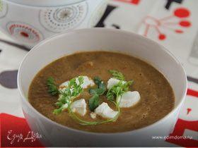 Суп-пюре с запеченными баклажанами, помидорами и грибами