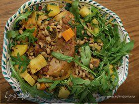 Баранина с фасолью, сельдереем и руколой