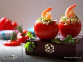Легкий салат с булгуром и креветками