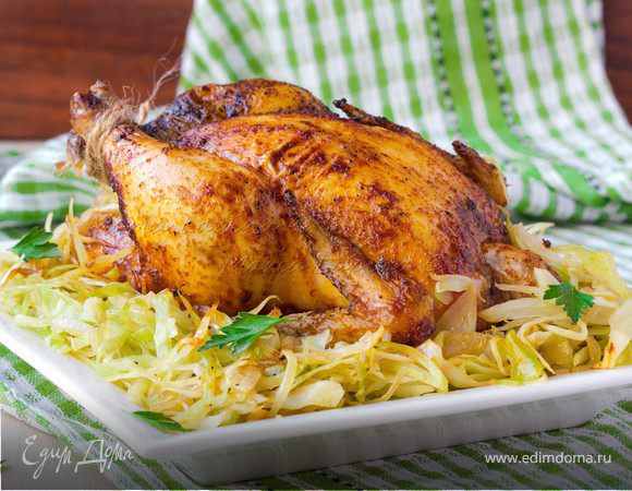 Цыплята с паприкой и тушеной капустой