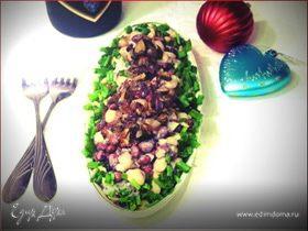 Салат из фасоли с белыми грибами и нежной йогуртовой заправкой