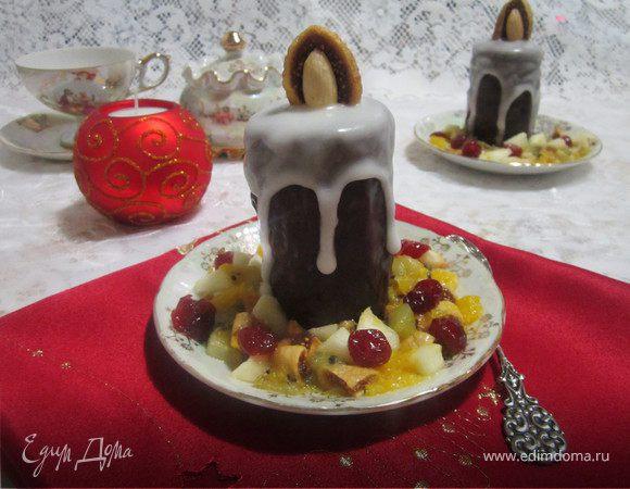 Пирожное «Рождественские свечи» с карамелизированными фруктами