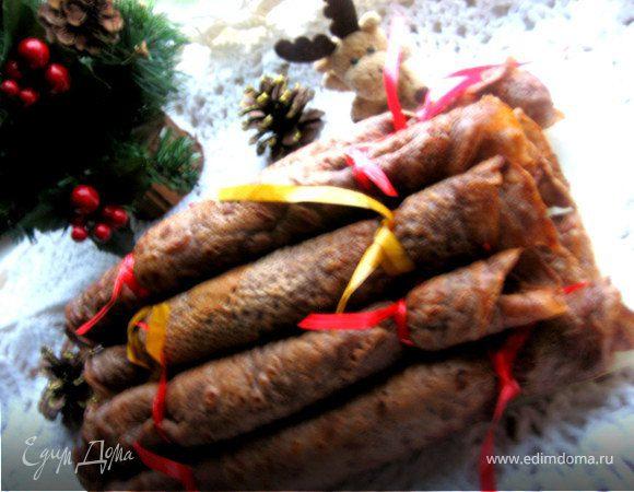 Праздничные шоколадные блинчики с творогом
