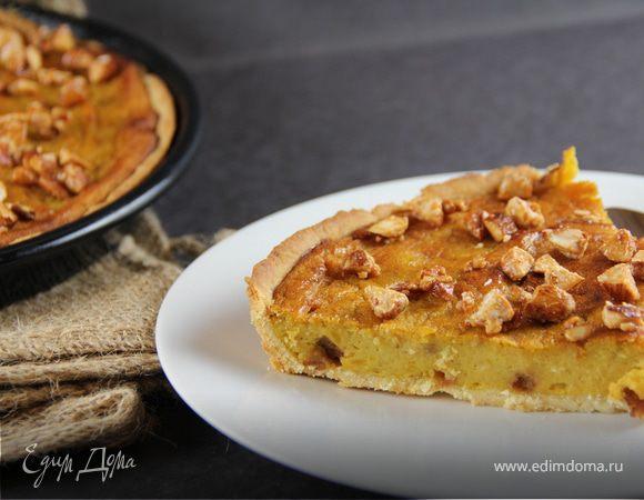 Тарт с пряной тыквой, медом и карамелизированным миндалем