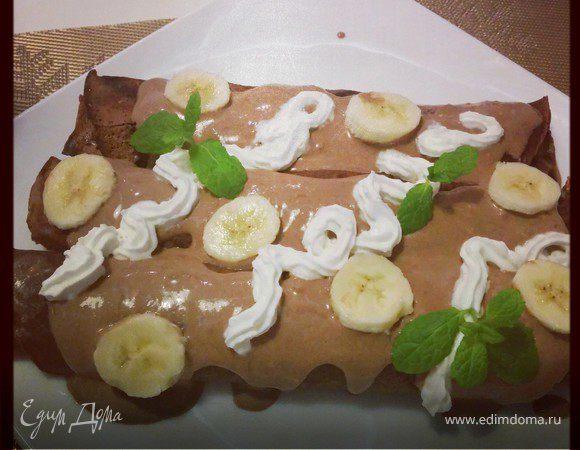 Шоколадные блинчики с бананом