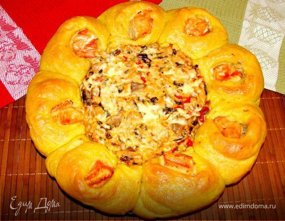 """Любимый праздничный пирог с лососем """"Цветок"""""""