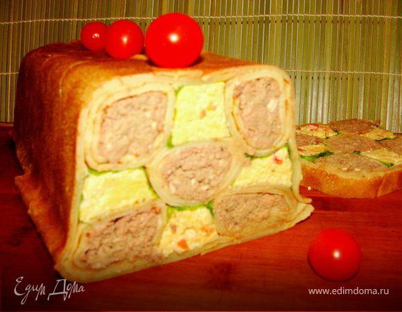 """Закусочный блинный торт """"Тетрис"""""""
