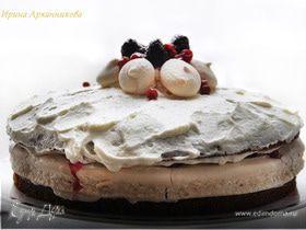 Брусничный торт с безе