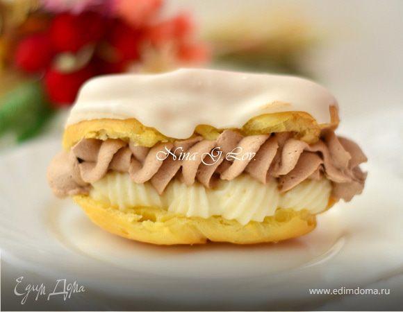 Эклеры со сливочно-шоколадным кремом (Ekler fánk)