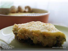 Запеканка с куриным филе, грибами и картофельным пюре
