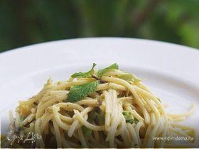 Спагетти с зеленым горошком и мятой