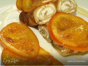 Миндальные блинчики с рикоттой и карамелизированными апельсинами