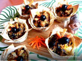 Грибы с картошкой в корзиночках из лаваша (постные)