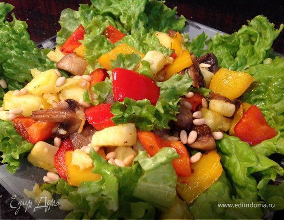 Теплый салат с кедровыми орешками