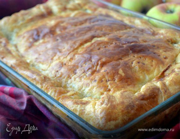 Воскресный пирог с красной рыбой и картофелем