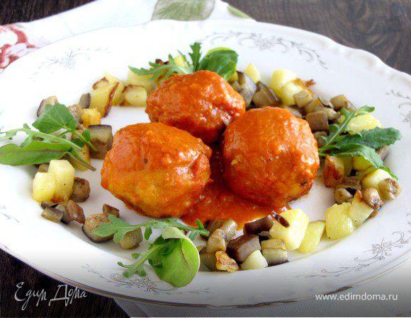 Мясные шарики в томатно-апельсиновом соусе с гарниром