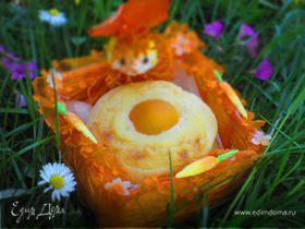 Пасхальные творожные булочки с заварным кремом и абрикосами