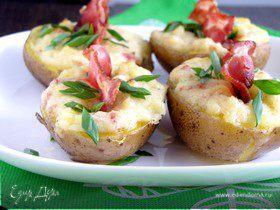 Картофельные лодочки с беконом и сыром