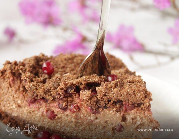 Шоколадно-творожный пирог с брусникой