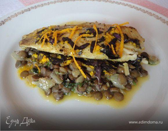 Рыба с чечевицей и апельсиновым соусом