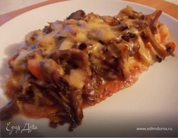 Филе морского окуня в шубке из грибов, сыра и сладкого перца
