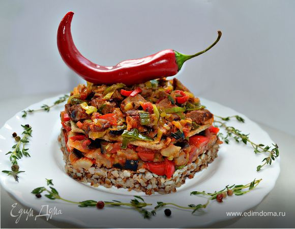 Мильфей с мясом, гречкой и овощами