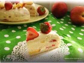 """Бисквитный фруктовый торт со сливочным кремом к празднику """"День семьи, любви и верности"""""""